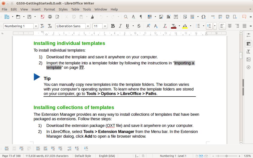 LibreOffice snaptshot.