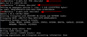 Partitions formatted Arch