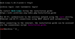 Initial ARCH install boot