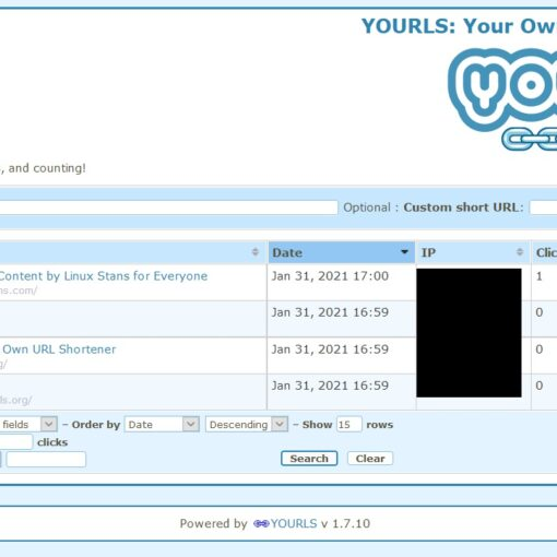 YOURLS admin page