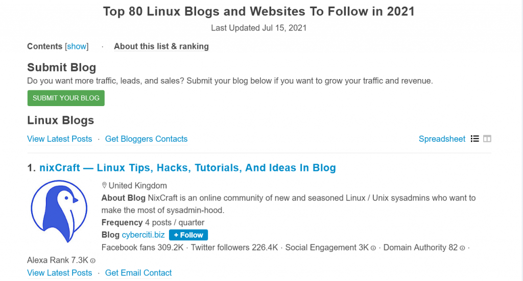 linux blogs and websites